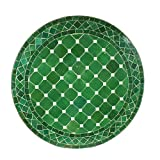 Mediterraner Gartentisch marokkanischer Mosaiktisch Ø 60 cm Grün glasiert rund mit Gestell H 73 cm | Kunsthandwerk aus Marrakesch | Handmade Bistrotisch Beistelltisch Mosaik-Kunst Balkontisch | MT2035