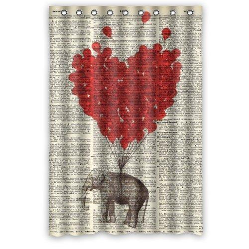 48cm (W) X 182,88cm (H) Hot Sale Vintage diccionario página arte elefante globo rojo tema foto 100% poliéster cortina de ducha de baño incluye anillas de ducha