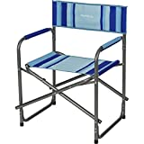 Berger Beachline Regiestuhl, blau, Gestänge Stahlrohre, klappbar, gepolsterte Armlehnen