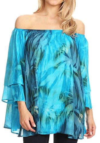 Sakkas 17035 - Alania Aquarell Tie Dye Doppel Bell-T-Shirt Bluse - blau/Turq - OS - Die Traditionellen Raglan-t-shirt