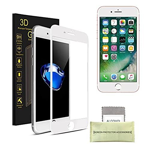 iPhone 7 Gehärtetes Glas-Schirm-Schutz, AKPATI 4D Displayschutzfolie 9H hohe Definition gehärtetes Glas (4.7 Zoll) Bubble Free Anti-Kratzer gehärtetes Glas - Weiß