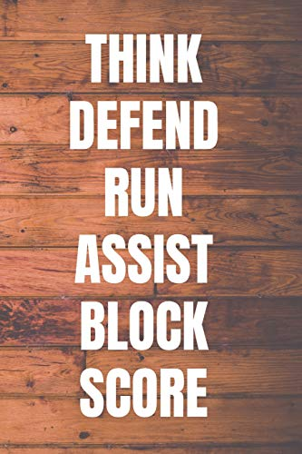 THINK DEFEND RUN ASSIST BLOCK SCORE: Basketball Coach Notebook | 110 Pages to Write In Plays, Practice, Goals, Notas | Perfect Gift for Basketball Coaches -