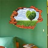 Pegatina de pared vinilo efecto 3D paisaje arbol en forma de corazon