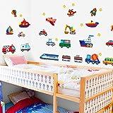 Zooarts Car UFO Boat Plane Train Wall Decals Sticker Kid Nursery Room Decor Mural Vinyl