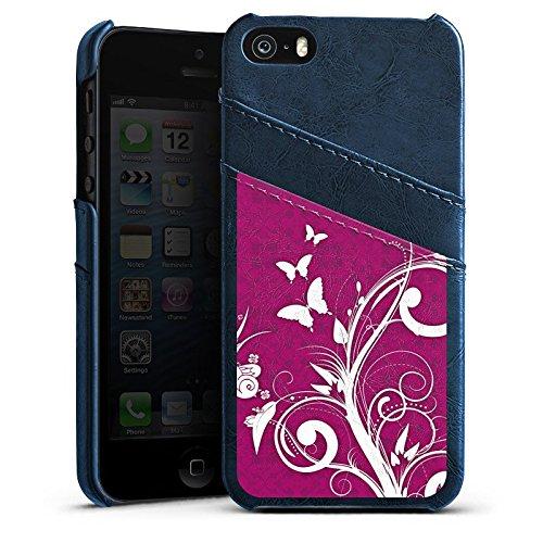 Apple iPhone 4 Housse Étui Silicone Coque Protection Rose vif Papillons Fleurs Étui en cuir bleu marine