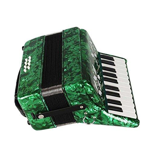 Dilwe Piano Akkordeon, Ahorn Holz 22 Key 8 Bass Keyboard Akkordeon mit Straps Handschuhe sauberes Tuch für Anfänger(Grün)