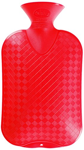 Fashy 6440 46 Wärmflasche Halblamelle, Thermoplast, 2.0 L,rot