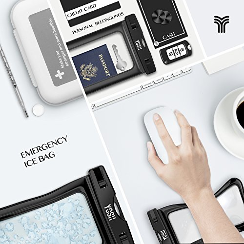 Custodia Impermeabile ✪ GARANZIA A VITA ✪ YOSH® Universale 6 Pollici Waterproof Case per iPhone 6s 6 plus 5c 5s 5 se, Samsung Galaxy s7 s6 s5 edge plus, Huawei P9 P8, LG, HTC M8, M9 Plus, ecc IPX8 (Ne Nero