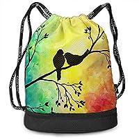 Bernie Dodd Drawstring Backpack Drawstring Bag Sport Gym Sackpack Drawstring Backpack Bag Sport Gym Sackpack Tree Bird Oil Painting Gym Bag