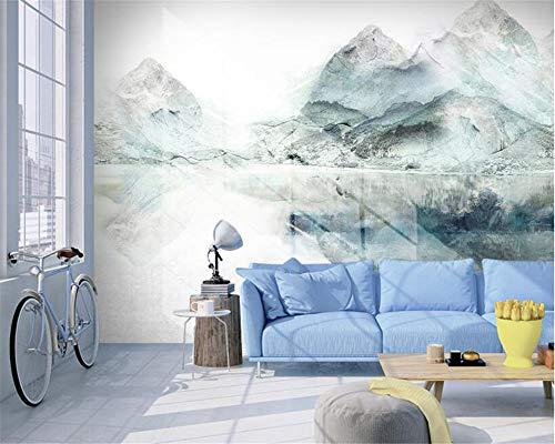 REAGONE Seidentuch 3D Wallpaper Wandbild Nordic Fashion Handgemaltes Ölgemälde Tinte Landschaft 3D Wallpaper Behang, 200X140 Cm (78,7 X 55,1 In)