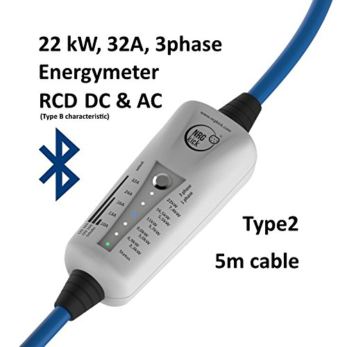 22KW, Typ 2 - mobile Ladestation für Elektroauto, Ladeneinheit 32A, Notladekabel mit integrierter Wallbox, 3-Phasenladung Proteus-NRGkick 32A - Bluetooth, Energiemesseinheit, FI Schutzmechanismus Typ B Charakteristik