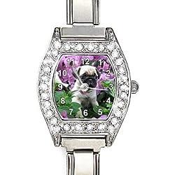 Reloj color plata diseño pug