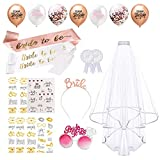 Dsaren 29 Pezzi Decorazioni per Addio al Nubilato Oro Rosa Tiara Sposa Velo Bride to be Sash Team Bride Balloons Tatuaggi Temporanei Badge Occhiali per Addio al Nubilato Bridal Shower Party Supplies