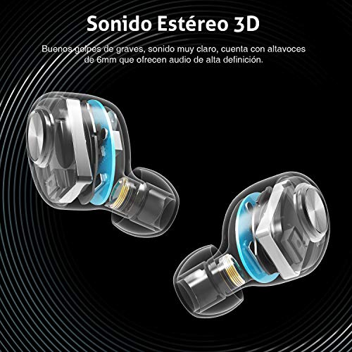 Auriculares Bluetooth,  ENACFIRE E18 Auriculares Inalámbricos Bluetooth Mini Twins Estéreo In- Ear Bluetooth 5.0 con Caja de Carga Portátil Y Micrófono Integrado para iPhone y Android