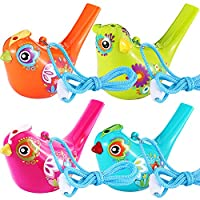 Tatuo Bird Whistle, Colorful Bird Water Whistle for Bath Toys, Bath Bird Whistle for Kids, Birthday Gift, Easter Gift (4 Pieces)