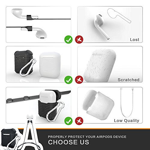 Airpods Case, Airpods Magnetic Strap Anti-lost AOPETIO Soft Silicon Shock Proof Airpods Protective Cover Skin for Apple Air Pods Accessories(Black)
