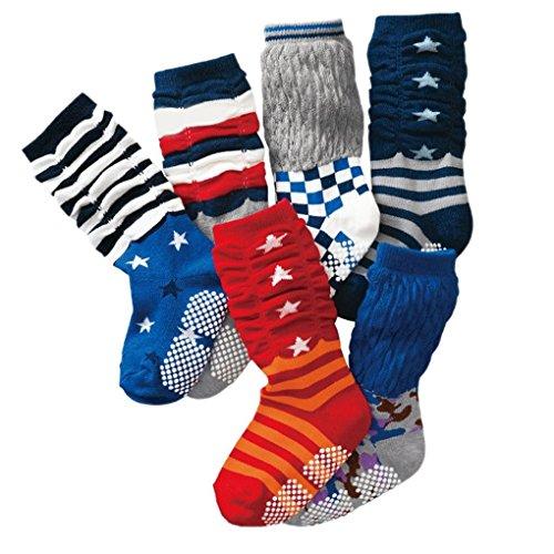 Happy Cherry 6 Paar Baby Kleinkind Jungen Rutschfest Kniestrümpfe Socken Set Baumwolle - Rot Blau Sternen Pattern