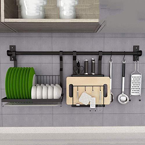 WYX Küchenregal, Wandmontiert 304 Edelstahl Schale Drying Rack Küche Organizer Aufbewahrungshalter - Mit 80Cm Rod