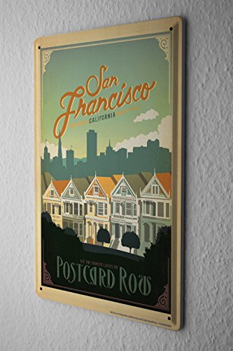 Blechschild Stadt Deko San Francisco Painted Ladies Reihenhäuser Metallschild 20X30 cm (Painted Ladies)