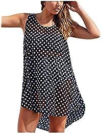 YOGLY Vestidos Playa con Punto de Onda sin Mangas Bikini Blusa Cover Up Talla Grande Vestido Pareos Ropa de Baño Camisola