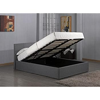 This Item 3ft, 4ft, 4ft6, 5ft Fusion Grey Linen Fabric Ottoman Storage Bed  Double Single King Storage Bed (4FT6 Double Storage Bed)