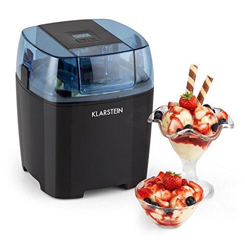 Klarstein Creamberry • Eismaschine • Speiseeismaschine • 4-in-1-Eisbereiter • Zubereitung in 20 Minuten • 1,5 Liter Fassungsvermögen • Thermobehälter • stromsparend • Timer • Abschaltautomatik • Digitalanzeige • inkl. Rezeptvorschläge • 10 W • schwarz