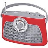 Trevi RA763V - Radio portable rétro AM-FM – Recherche de fréquences rotatif à aiguille – Alimentation secteur ou piles – Rouge