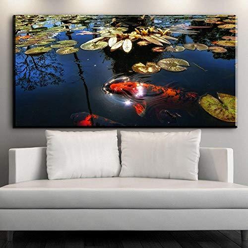 wydlb Chinesische Koi Fisch Lotus Leinwand, Drucke Feng Shui Tier Landschaftsmalerei Wandkunst Bild Für Wohnzimmer Moder wohnkultur KEIN Rahmen 24X48 Zoll - Feng-shui Fisch Koi