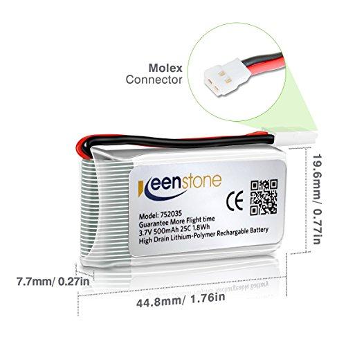 6 Stück Keenstone 3,7V 500mAh 25C LiPO Batterie mit 6-Port-Ladegerät für Hubsan X4 (H107 H107C H107D H107L V252 JXD385 F180C) 4 Kanal 2.4GHz RC QuadCopter Kompatibel mit Walkera Super CP - 4