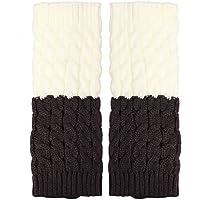 Nuevo color de contraste mujeres calentadores de punto invierno Twist elástico corto arranque puños calcetines de arranque Covers, white&grey