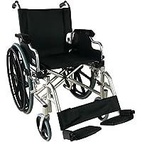 Silla de ruedas aluminio | plegable | Reposabrazos abatibles y reposapiés extraibles | Ancho de asiento
