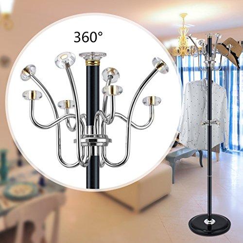 SKC Lighting-Porte-manteau Aluminium en alliage Crystal Coat Rack Rack Coat Rack en acier inoxydable Salon suspendue Suspension Chambre Plancher Creative Jacket (Couleur : Noir)