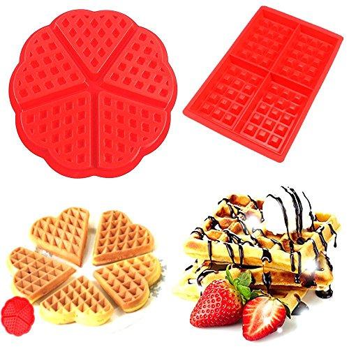 Silicon-Backform für Waffeln, Antihaftbeschichtung, Plätzchen, Schokolade, Back-Einsatz, Form, Werkzeug, 2 Stück