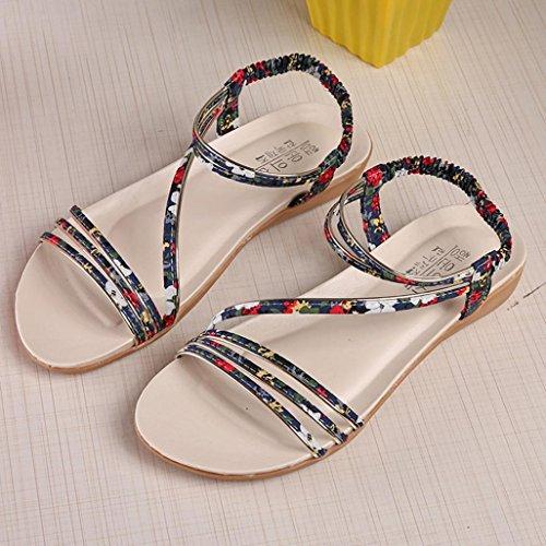 Hunpta Frauen flache Schuhe Mode Böhmen Freizeit Dame Sandalen Outdoor Schuhe Blau
