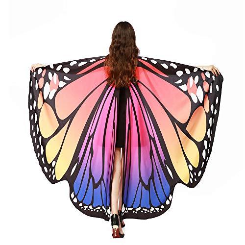 Sllowwa Schmetterling Kostüm Damen Cosplay Schmetterling Schal Flügel Tuch Schmetterlingsflügel Erwachsene Poncho Umhang für Party Weihnachten Kostüm Karneval Fasching(B)