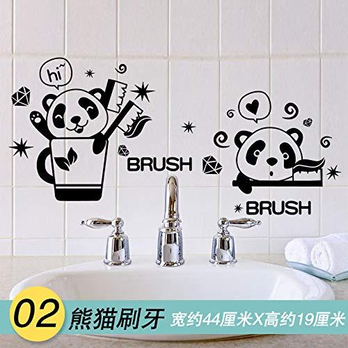Schlafzimmer, Wohnzimmer, Kinderzimmer Wand, Wanddekoration, Cartoon selbstklebende Wand, Wandmalerei, Pandas putzen ihre Zähne, in