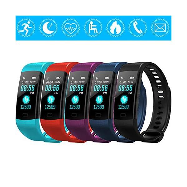 Milnnare Reloj Inteligente Presión Arterial Frecuencia cardíaca Monitor de sueño Podómetro Sports Fitness Smart Pulsera - Purple 2