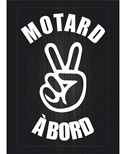 Preisvergleich Produktbild Sticker für MacBook / Laptop / Auto / Motorrad / Biker Hat,  Aufschrift: Motard à bord (Motorradfahrer an Bord),  selbstklebend,  Weiß