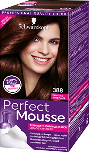 Schwarzkopf Perfect Mousse Permanente Schaumcoloration, 388 Dunkles Rotbraun Stufe 3, 3er Pack (3 x 93 ml)