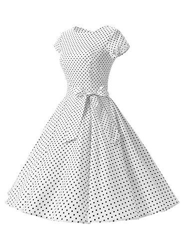 Dressystar Robe à 'Audrey Hepburn' Classique Vintage 50's 60's Style à mancheron Blanc à pois noir A