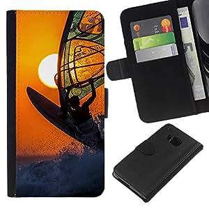 NICE GIFT GOOD PRESENT // Leder Geldbörse Schutzhülle Geld-Halter Tasche Hülle Kartensteckplätze HandyHülle Wallet for HTC One M9 / Surf Wind Boarding Sonnenorange Extremsport /