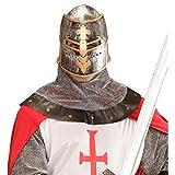 Mittelalter Ritterhelm mit Visier Kreuz Ritter Helm Topfhelm mit Schlitzen Kriegerhelm Herren Kreuzritter Haube Krieger Kreuzfahrerhelm Kostüm Accessoire