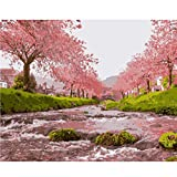 CCEEBDTO Jigsaw Puzzle 500 Piece For Adults Puzzle 3D Wooden Classic Puzzle Pink Cherry Blossoms Trees Landscape Drawing Diy Educational Puzzle Christmas Home Decor Gift 52X38Cm