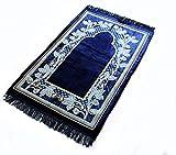 #7: Momin Bazaar Islamic Muslim Janamaz Musallah Prayer Mat Rug gold blue flower