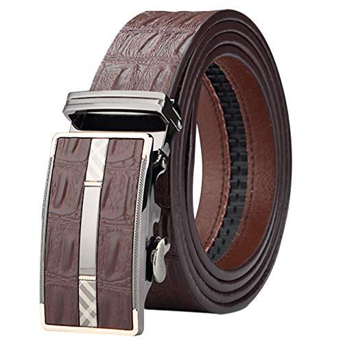 ES-AP Belt Men Grid Crocodile Grain Croco Cayman Soldier Stars Stripes Automatic Buckle Brown Coffee Box Black Gift Leather Cow Men Gift Box Belt Ceinture Gürtel Waist 110-129.7 Cm