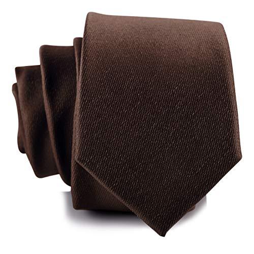 Fly & Dapper Herren Krawatte massiv handgefertigt 6,3 cm breit (schmal) von 145 cm lang - Braun - Einheitsgröße