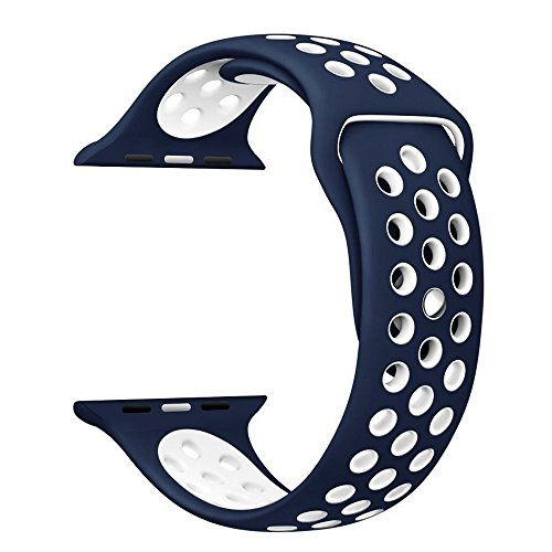Apple Watch Correa, Sanday Silicona Suave Reemplazo de Banda Sport Band para Apple Watch Apple Watch Nike+,Series 1/Series 2,42MM M/L Azul/Blanco