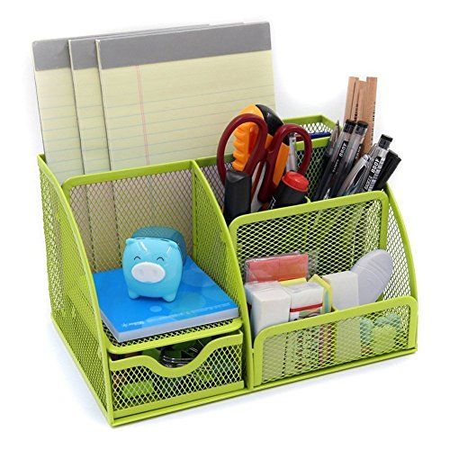 yiliay Fashion Office suppiles Organzier Mesh Schreibtisch Aufbewahrungsbox Metall Pen Organizer set-green (Mesh-karte)