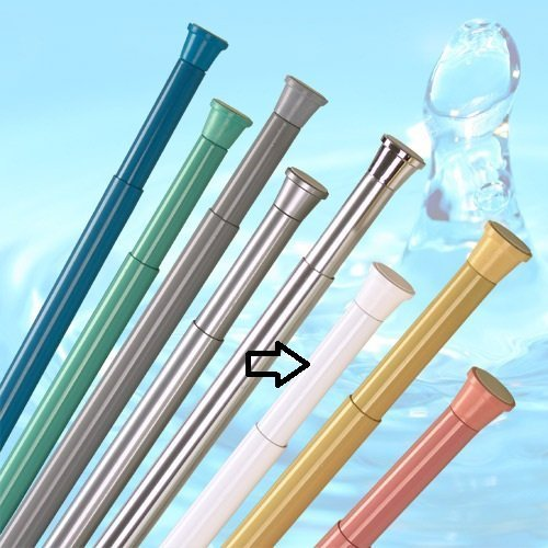 Ks DUSCHVORHANGSTANGE 180-300 cm Weiss TELESKOPSTANGE - EXTRA LANG - GARDINENSTANGE Spring KLEMMSTANGE Shower Rod
