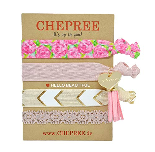 CHEPREE Handmade Frauen Armband (4 Stück) Auch als Haargummi Nutzbar Größen Verstellbar